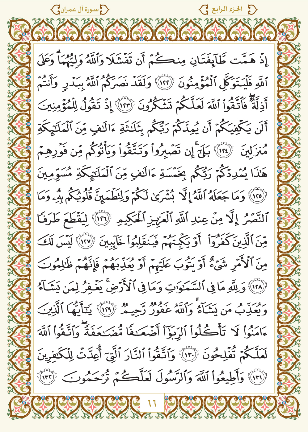 3. سورة آل عمران - Al-Imran مصورة من المصحف الشريف Page-066