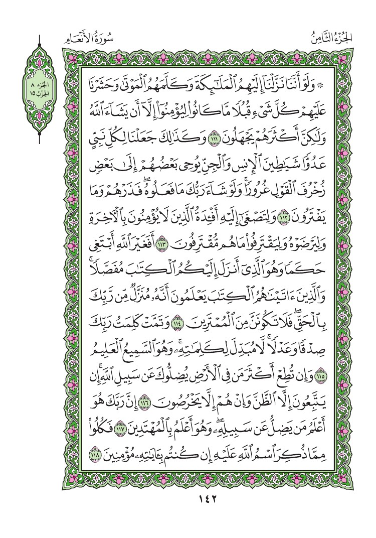 6. سورة الآنعام - Al - Anaam مصورة من المصحف الشريف 0145