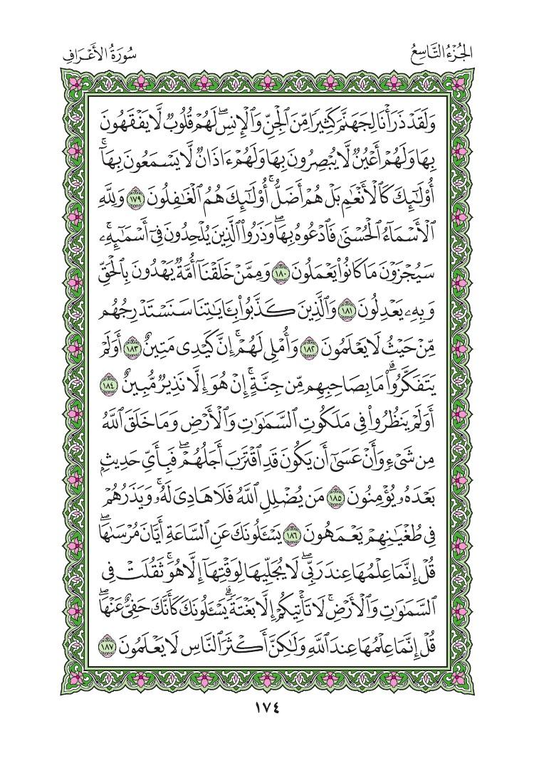 7. سورة الاعراف - Al- Aaraf مصورة من المصحف الشريف 0177