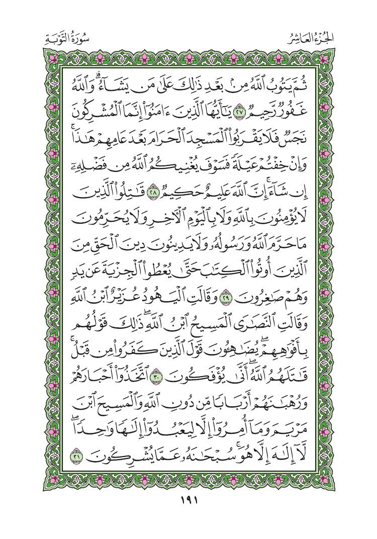 9. سورة التوبة - Al-Tawbah مصورة من المصحف الشريف 0194