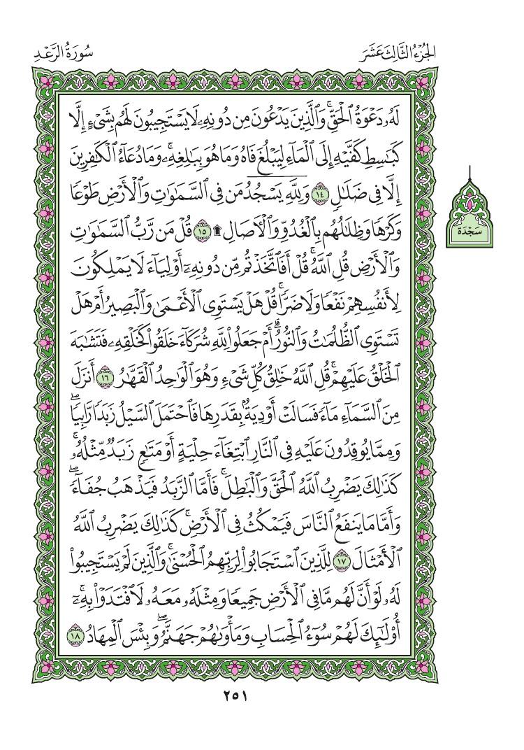 13. سورة الرعد - Al- Rad مصورة من المصحف الشريف 0254
