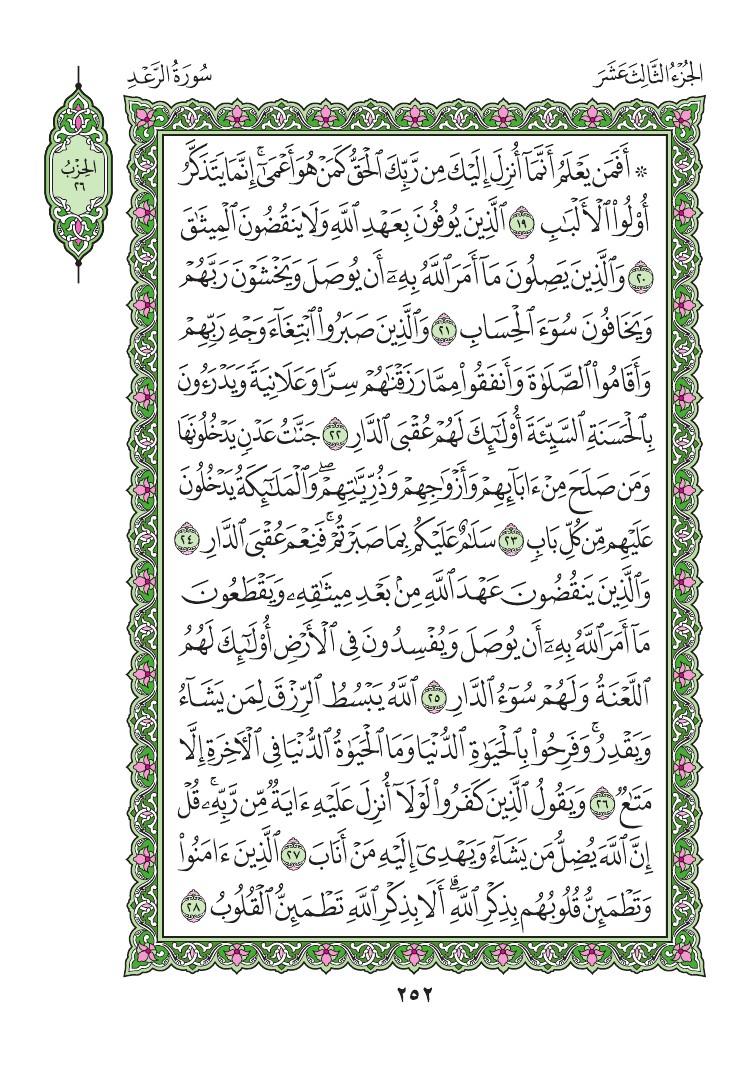 13. سورة الرعد - Al- Rad مصورة من المصحف الشريف 0255