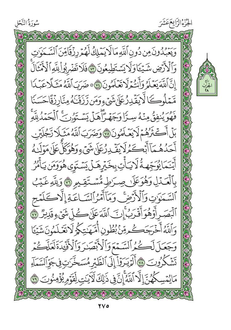 16. سورة النحل - Al- Nahl مصورة من المصحف الشريف 0278