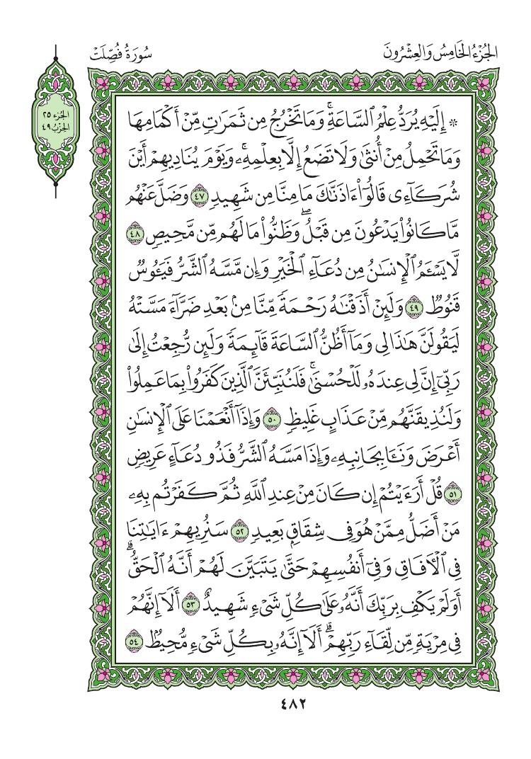 41. سورة فصلت - Fussilat مصورة من المصحف الشريف 0485