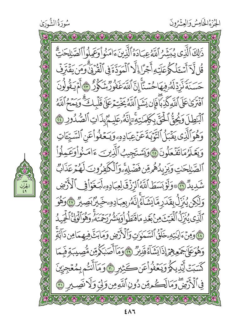 42. سورة الشورى - Al-Shura مصورة من المصحف الشريف 0489