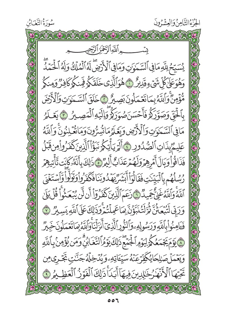 64. سورة التغابن - At- Taghabun مصورة من المصحف الشريف 0559