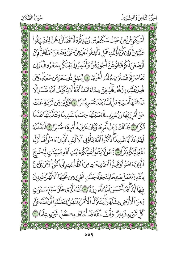 65. سورة الطلاق - Al-talaq مصورة من المصحف الشريف 0562