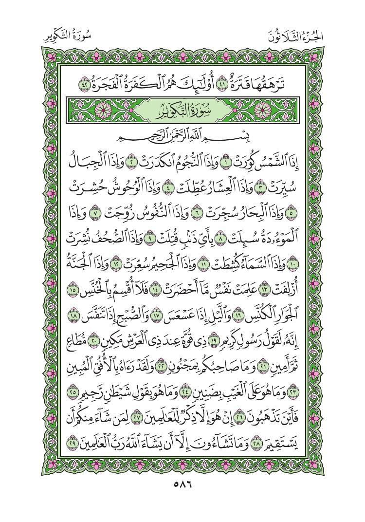 80. سورة عبس - Abasa مصورة من المصحف الشريف 0589