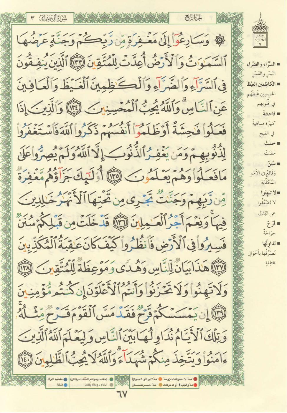 3. سورة آل عمران - Al-Imran مصورة من المصحف الشريف Quran_tajwid_000076