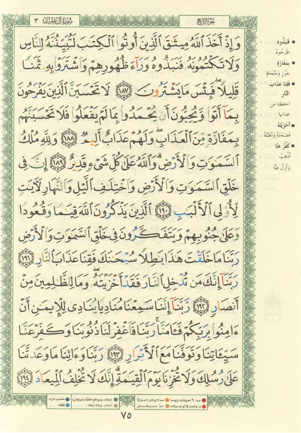 3. سورة آل عمران - Al-Imran مصورة من المصحف الشريف Quran_tajwid_000084